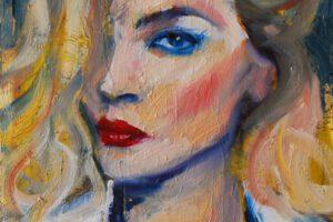 Portret blondynki, 30 x 40 cm, olej na płótnie